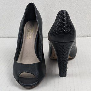 Elliott Lucca Andrea Woven Leather Peep-Toe Heels